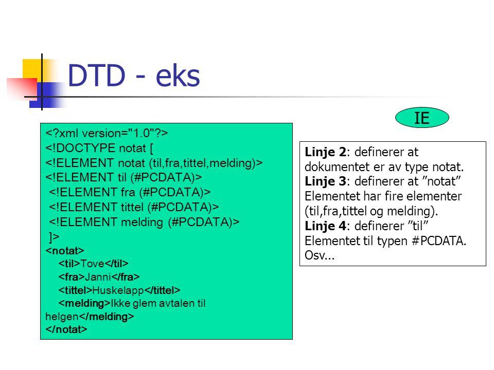 DTD - eks IE < xml version= 1.0 > <!DOCTYPE notat [
